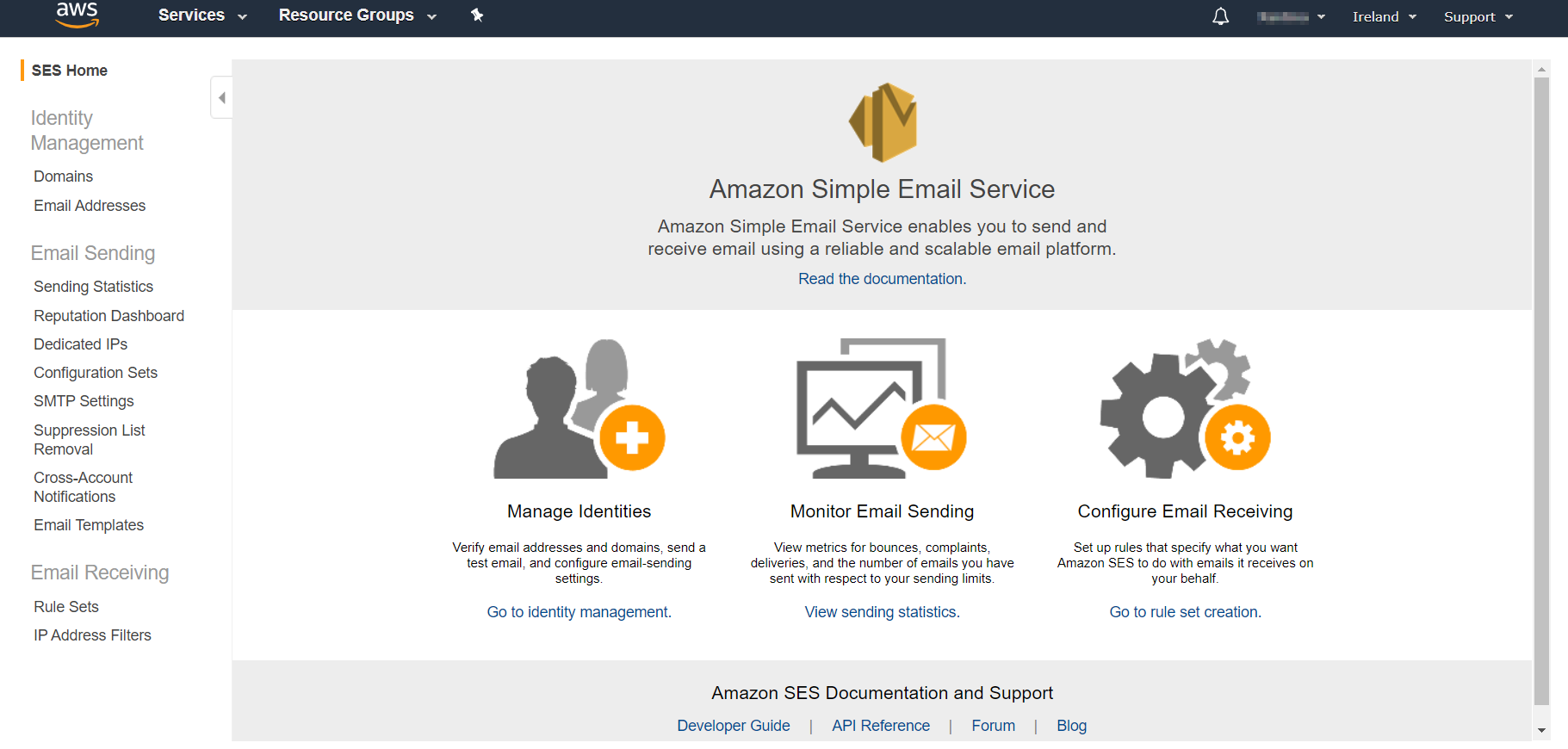 AWS Management Console Home page