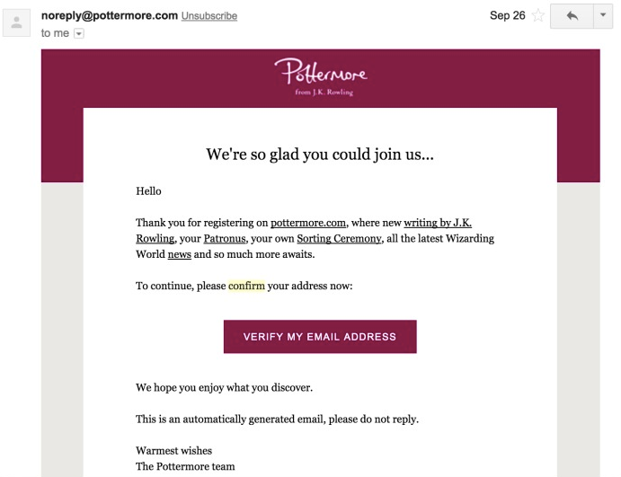 confirmation email sample by Pottermore