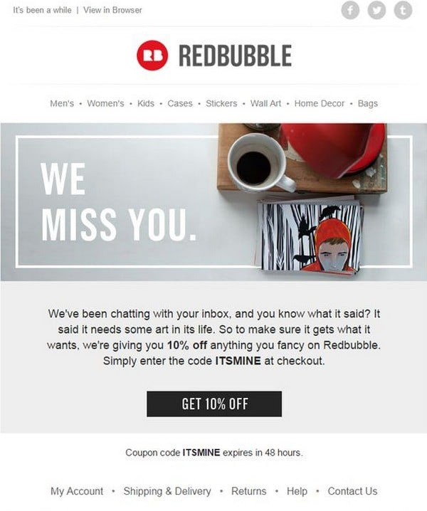 re-engagement email sample by Redbubble