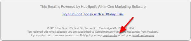HubSpot unsubscribe